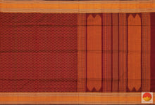 Burgundy & Orange - Handwoven Silk Cotton Saree - KC 510 Archives