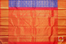 pallu detail of royal blue kanjivaram pure silk saree