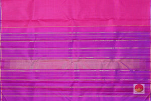 pallu detail of pink kanjivaram pure silk saree