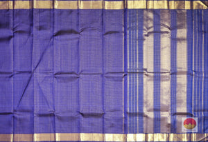 MS Blue Zari Checks - Light Weight Handwoven Pure Silk Kanjivaram Saree - PV VA 3 Archives