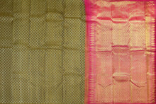 body and pallu of olive green  kanjivaram pure silk saree