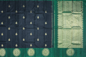 Traditional design kanjivaram pure silk sari in black with  gold zari motifs