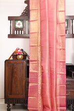 Drape of body and pallu of  pink bridal kanjivaram silk saree