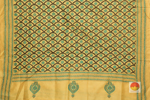 pallu detail of tussar pure silk saree