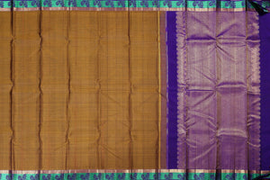 mustard body with purple pallu and aqua blue border in kanjivaram pure silk sari