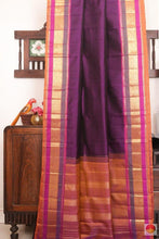 Drape of body and pallu of PURPLE kanjivaram silk saree