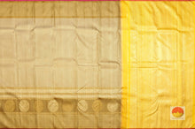 Beige and Yellow Handwoven Pure Silk Kanjivaram Saree - Pure Zari -  PVVK 106948 Archives