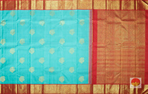 body and pallu of teal kanjivaram pure silk saree