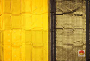body and pallu of yellow kanjivaram pure silk saree