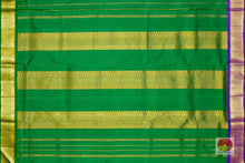 green pallu of 9 yards kanjivaram silk saree