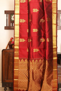 Drape of body and pallu of traditional design kanjivaram silk saree