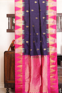 Drape of body and pallu of navy blue traditional design kanjivaram silk saree