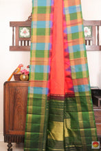 Drape of body and pallu of temple border kanjivaram silk saree