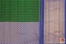 Load image into Gallery viewer, Bottle Green & Blue - Handwoven Pure Silk Kanjivaram Saree - Pure Zari - PV G 1974 Archives