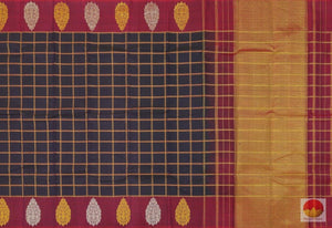 Navy Blue & Magenta - Kanchipuram Silk Saree - Handwoven Pure Silk - Pure Zari - PV SVS 2041 Archives