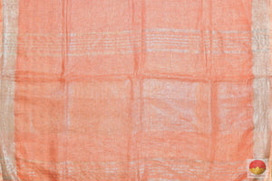 pallu detail of linen saree