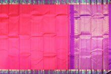 Load image into Gallery viewer, pink body and purple border of kanjivaram silk saree