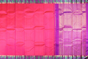pink body and purple border of kanjivaram silk saree