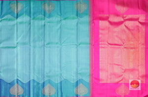 body and pallu of ananda blue kanjivaram pure silk saree
