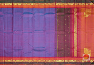 body and pallu of blue kanjivaram pure silk saree