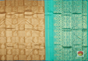 Honey Yellow and Teal - Borderless Handwoven Pure Silk Kanjivaram Saree - Pure Zari - PVVK 106973 Archives