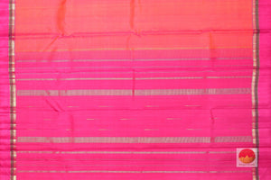 pallu detail of peach and pink kanjivaram silk saree
