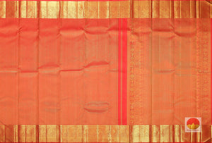 body and pallu of orange  kanjivaram pure silk saree