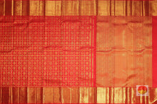 body and pallu of kumkuma red kanjivaram pure silk saree