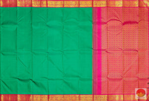 Emerald Green - Traditional Handwoven Pure Silk Kanjivaram Saree - Pure Zari - PV SVS 12277