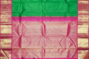 Pallu detail of handwoven traditional design kanjivaram pure silk saree