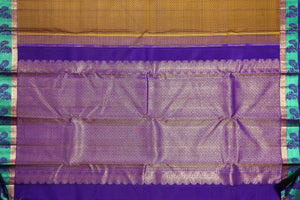 Purple pallu with gold zari of kanjivaram pure silk saree