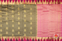 body and pallu of tan and pink  kanjivaram pure silk saree