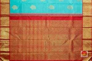 pallu detail of teal kanjivaram pure silk saree