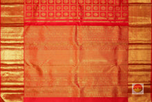 pallu detail of kumkuma red kanjivaram pure silk saree