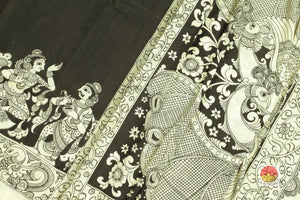 body, border and pallu of monochrome kalamkari silk saree
