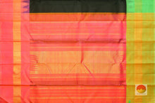 Load image into Gallery viewer, pallu detail of black kanjivaram silk saree