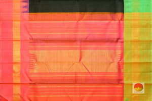 pallu detail of black kanjivaram silk saree