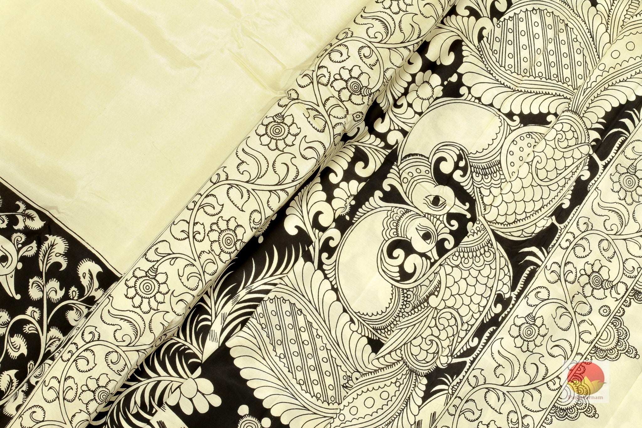 66cb171104d Handpainted Monochrome Kalamkari Silk Saree - Organic Colours - PKO ...