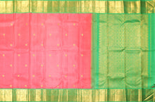 Load image into Gallery viewer, body and pallu of  peach colour kanjivaram pure silk saree