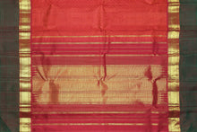pallu detail of red pallu of traditional design kanjivaram pure silk saree