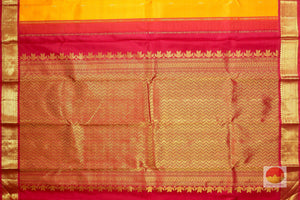 pallu detail of mango yellow kanjivaram pure silk saree