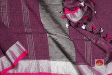 Load image into Gallery viewer, body, border and pallu of maroon linen saree