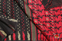 body, border and pallu detail in dakhai jamdani saree