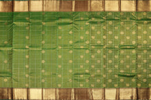 Traditional design handwoven kanjivaram silk saree in green and maroon