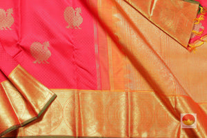 body, border and pallu of red jacquard kanjivaram pure silk saree
