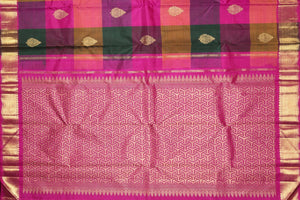 Detail of pallu in pink and gold zari