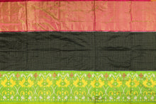 body view of black checks pochampally silk saree