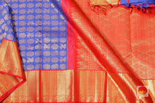 body, border and pallu of royal blue kanjivaram pure silk saree