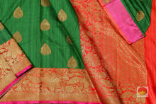 body, border and pallu of green banarasi matka silk saree