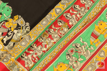 Load image into Gallery viewer, body, border and pallu of Kalamkari silk saree